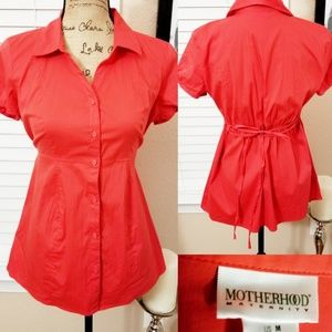 Motherhood Maternity button up too with waist tie
